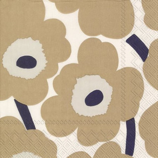 Cocktail-Servietten Unikko - cream linen by marimekko